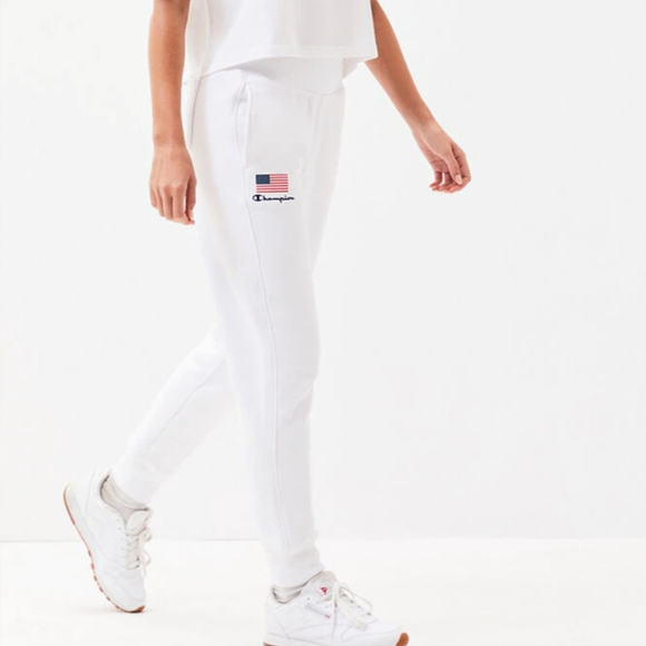 Champion Pants - Champion Reverse Weave Graphic Joggers White